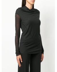 Rick Owens Lilies Black Long Sleeve Draped Neck Knit Top