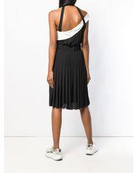 Robe plissée à design à une épaule Karl Lagerfeld en coloris Black