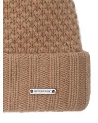 Burberry Brown Fur Pom-pom Wool Cashmere Beanie