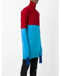 J.W. Anderson - Red Roll Neck Bicolour Jumper for Men - Lyst
