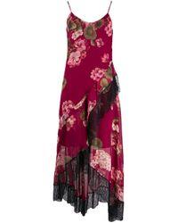 Twin Set Red Floral Asymmetric Slip Dress