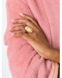 Aurelie Bidermann - Metallic 'melina' Oval Mask Ring - Lyst