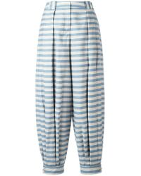 Jil Sander Navy Blue Striped Tapered Pants