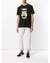 Moschino Black Metallic Bear T-shirt for men