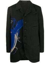 Yohji Yamamoto Black Printed Single-breasted Coat for men