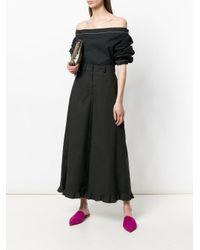 L'Autre Chose - Black Frill Hem Cropped Palazzo Trousers - Lyst