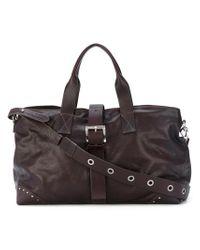 P.A.R.O.S.H. Brown Studded Buckle Shoulder Bag