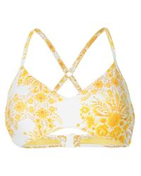 Top de bikini con motivo floral Seafolly de color Yellow