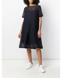 YMC Blue Cruz Big Pleat Check Dress