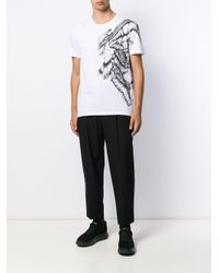 メンズ Alexander McQueen ウイング プリント Tシャツ White