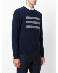 Eleventy - Blue Cashmere 3 Bars Sweater for Men - Lyst