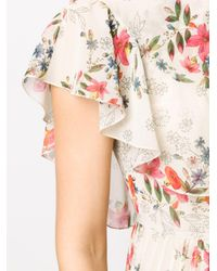 RED Valentino Multicolor Floral Pattern Pleated Dress