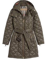 Burberry Gray Quilted Showerproof Parka