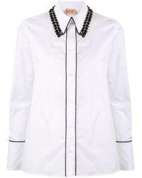 N°21 ビーズカラーシャツ White