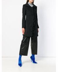 Patrizia Pepe Black Ruffle Trimming Coat