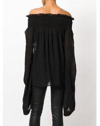 Saint Laurent Black Oversized Sleeves Smocked Top