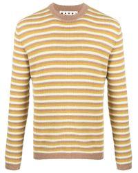 Marni Yellow Striped Crew Neck Jumper for men
