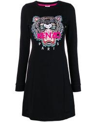 Tiger embroidered dress KENZO en coloris Black