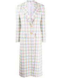 Thom Browne White Check-print Single-breasted Coat