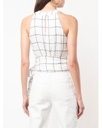 MILLY White Knotted Waist Blouse