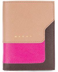 Marni Purple Saffiano Bi-fold Wallet