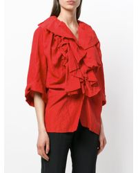 Carmen March - Red Ruffled Front Blouse - Lyst