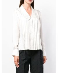 Thom Browne White Pleated Drop Collar Silk Shirt