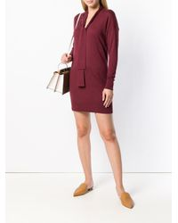 Twin Set Red Neck-tied Fitted Sweater Dress