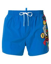 DSquared² - Blue Badge Printed Swim Shorts for Men - Lyst