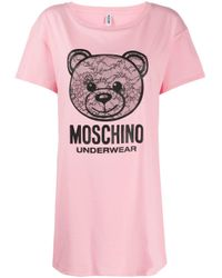 Moschino Pink Teddy Logo Print T-shirt