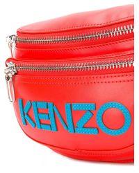 メンズ KENZO ロゴ ベルトバッグ Red