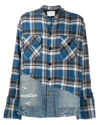 メンズ Greg Lauren デニムパネル チェックシャツ Blue