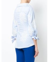 Alice + Olivia Blue 'toro' Floral Embroidered Tie Cuff Shirt