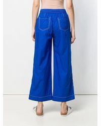Pantalon évasé à lien de resserrage P.A.R.O.S.H. en coloris Blue