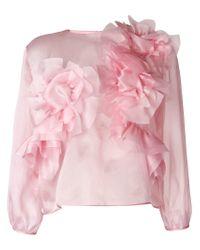 Ermanno Scervino Pink Ruffled Longsleeved Blouse