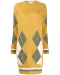 Vestido de punto de rombos Ballantyne de color Yellow