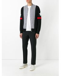 Givenchy Gray Stars And Stripe Knitted Cardigan for men
