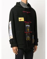 メンズ Versace パッチワーク ダッフルコート Black