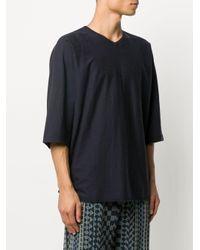 メンズ Homme Plissé Issey Miyake オーバーサイズ Vネック Tシャツ Blue