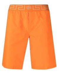 Versace Orange Grecca Waistband Swimming Shorts for men