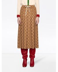 Юбка Миди С Узором GG И Складками Gucci, цвет: Brown