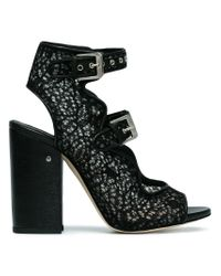 Laurence Dacade Black Nelen 110 Mesh Lace Sandals
