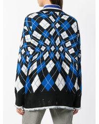 MSGM Blue Pullover mit Strickmuster