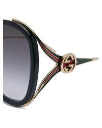 Gucci Black Round Frame Sunglasses