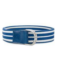 RED Valentino White Striped Buckle Belt