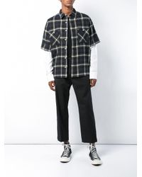 Adaptation Blue Plaid 2fer Long Sleeve Shirt for men
