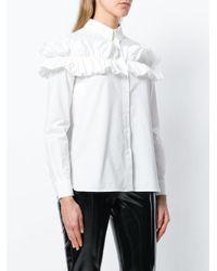 Boutique Moschino White Long Sleeved Ruffle Shirt