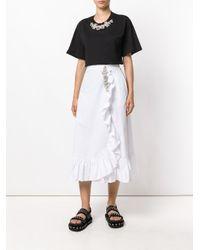 Christopher Kane White Crystal Frill Cotton Skirt