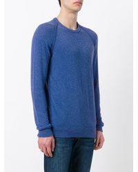 Roberto Collina - Blue Ribbed Trim Sweatshirt for Men - Lyst
