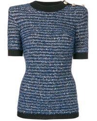Трикотажный Топ В Полоску Balmain, цвет: Blue